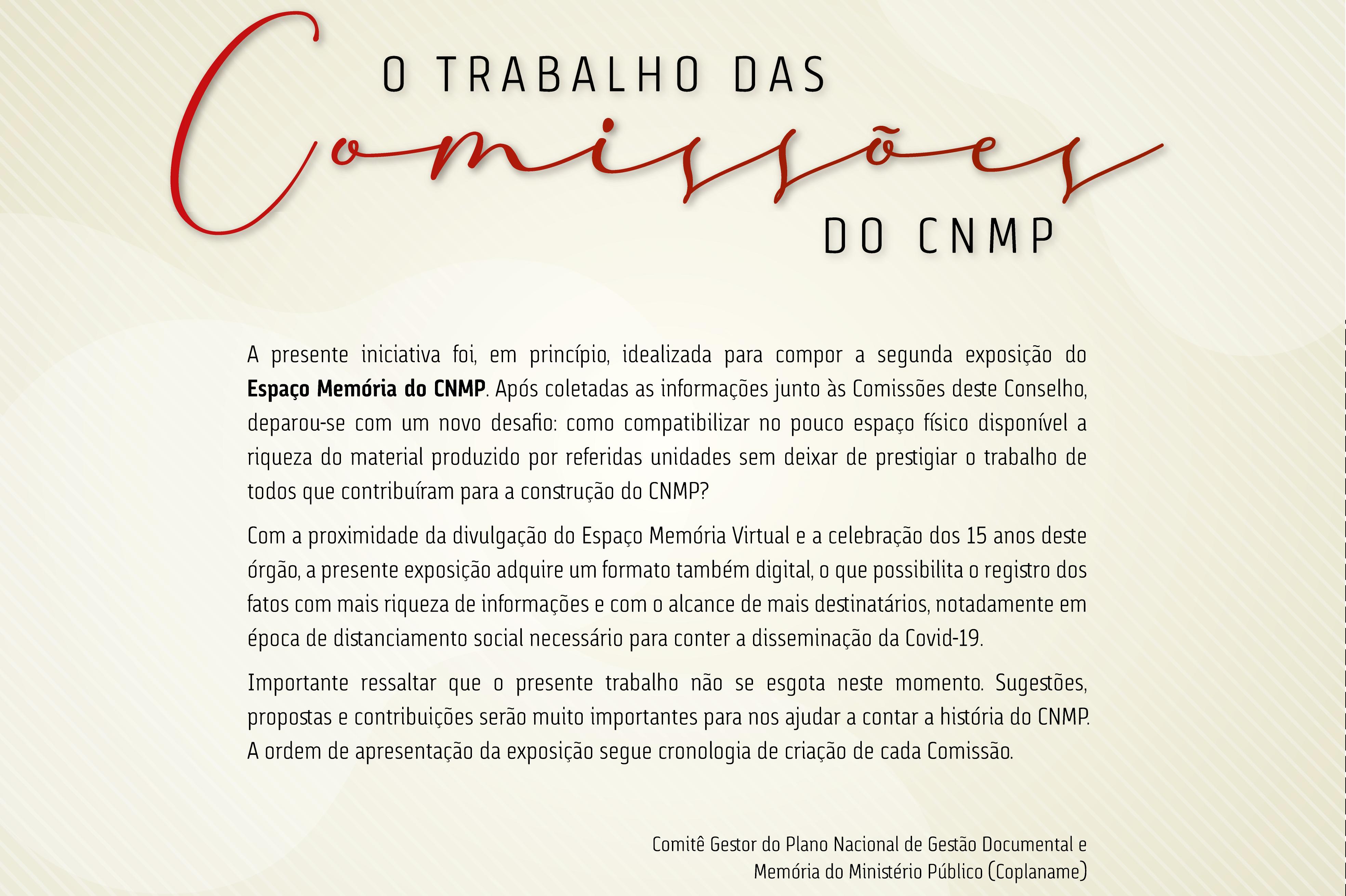 O Trabalho das Comissões do CNMP