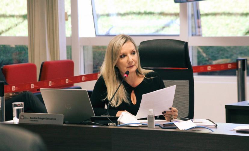 Foto da conselheira Sandra durante sessão do Plenário